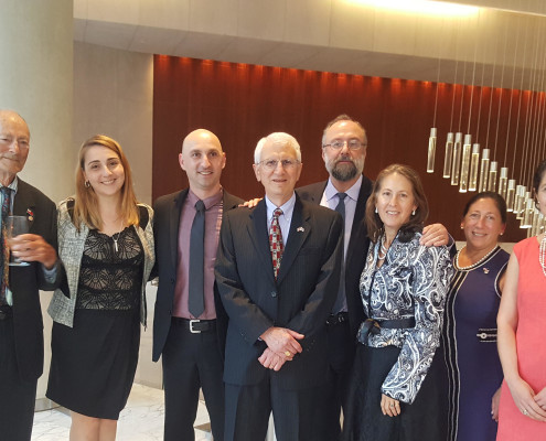 Rejeb Jordania with President of Georgian Association in the USA Elisabeth Kvitashvili, Former presidents Elizabeth Zaldastani Napier, Nino Japaridze and Mamuka Tsereteli, Board members Tsotne Dadiani, Veronika Metonidze and David Kharadze