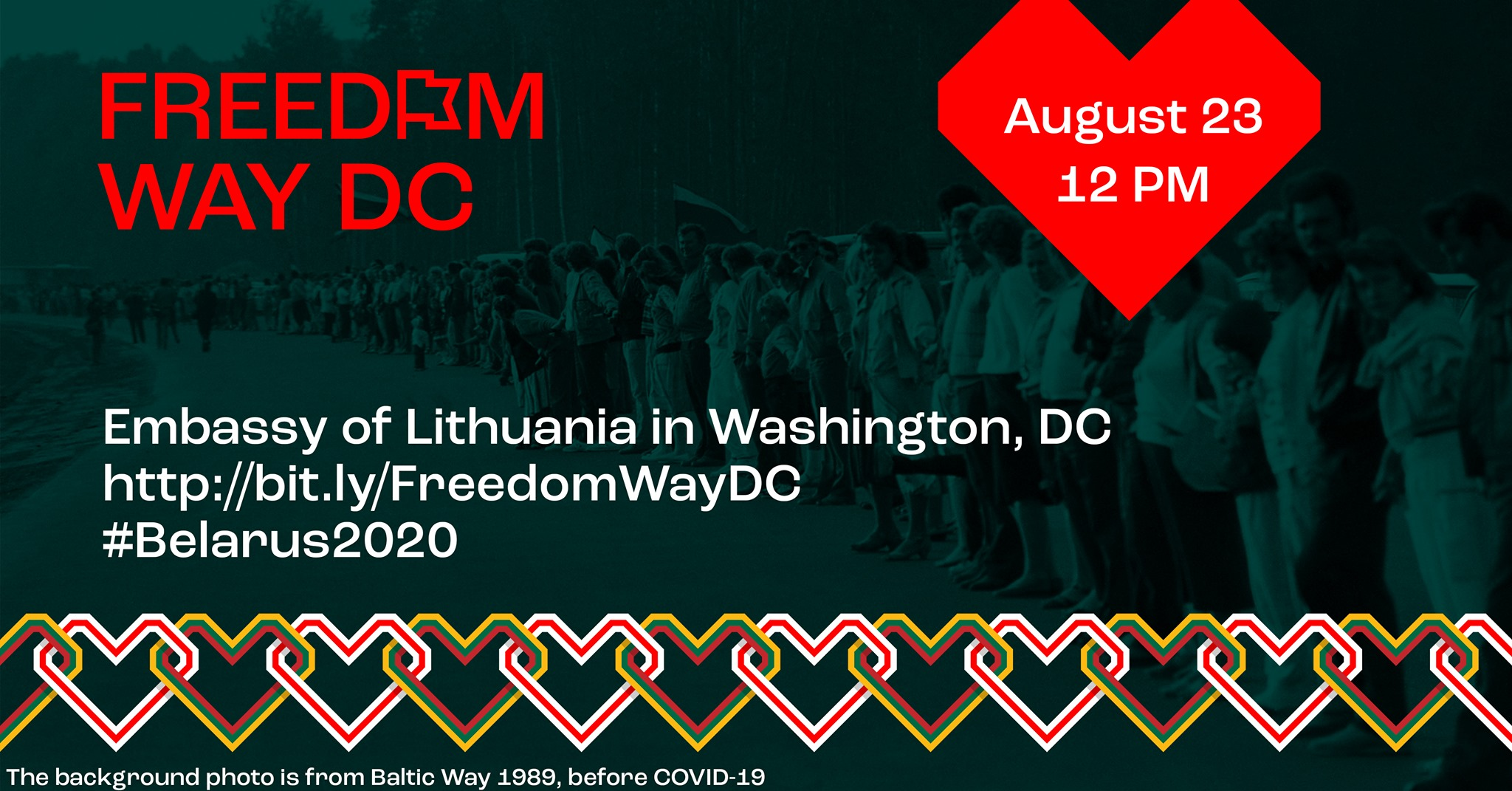 Freedom Way DC, a Socially Distanced Human Chain action to commemorate a Baltic Way protest and support People of Belarus